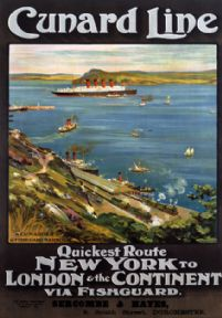 Cunard Line, Fishguard. New York to London. Sercombe & Hayes Travel Poster by Odin Rosenvinge